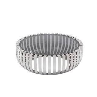 Modrest Cage Modern Stainless Steel Round Coffee Table with Glass Top