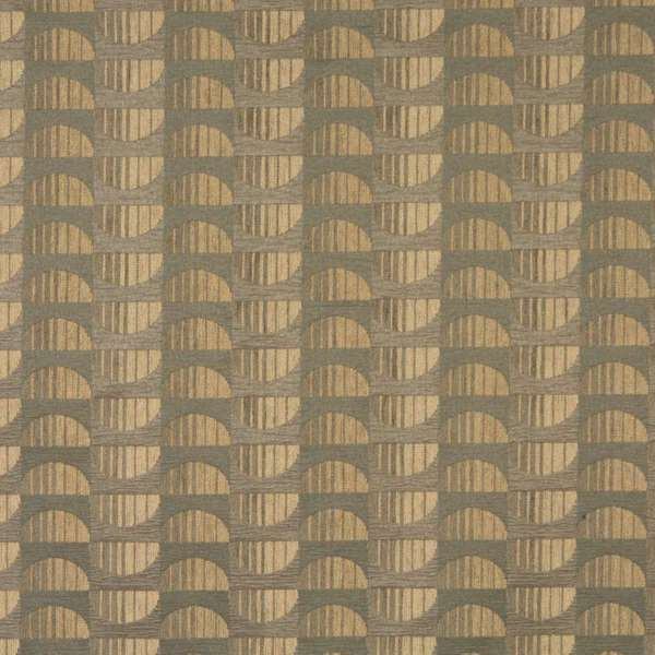F523 Beige Half Circles Chenille Upholstery Fabric By The Yard