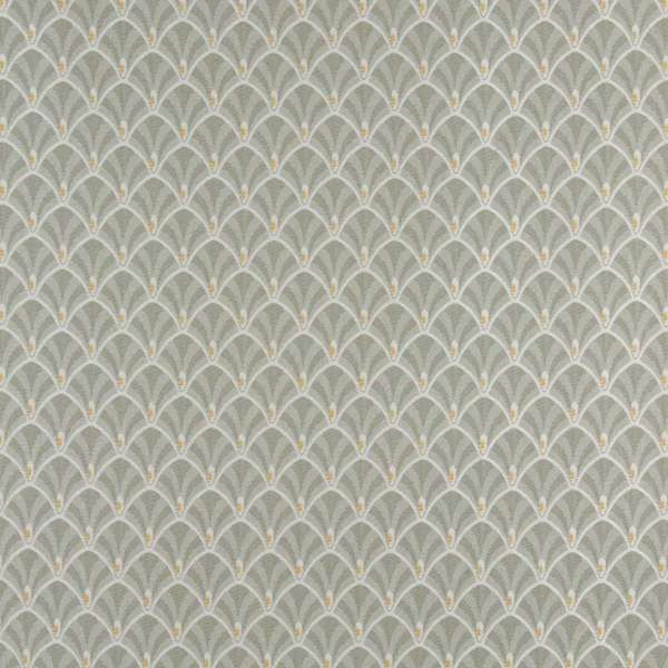 D305, Green, White And Gold Fan Woven Jacquard Upholstery Fabric By The Yard