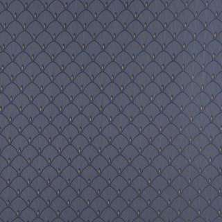 D306, Blue And Gold Fan Woven Jacquard Upholstery Fabric By The Yard
