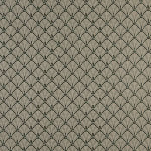 D309, Dark Green And Beige Fan Woven Jacquard Upholstery Fabric By The Yard