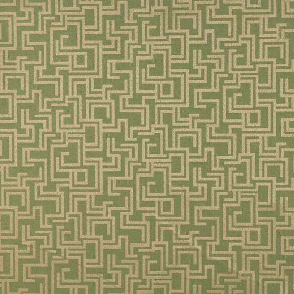 F634 Dark Green Geometric Outdoor Indoor Marine Scotchgarded Fabric By The Yard