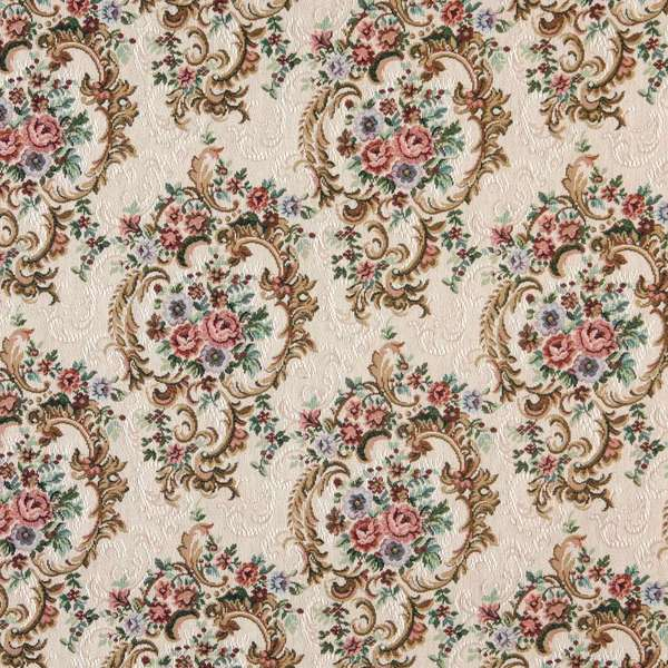 F640 Green Blue And Burgundy Floral Tapestry Upholstery Fabric By The Yard