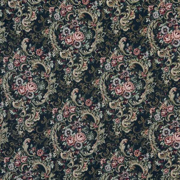 F642 Navy Gold And Burgundy Floral Tapestry Upholstery Fabric By The Yard