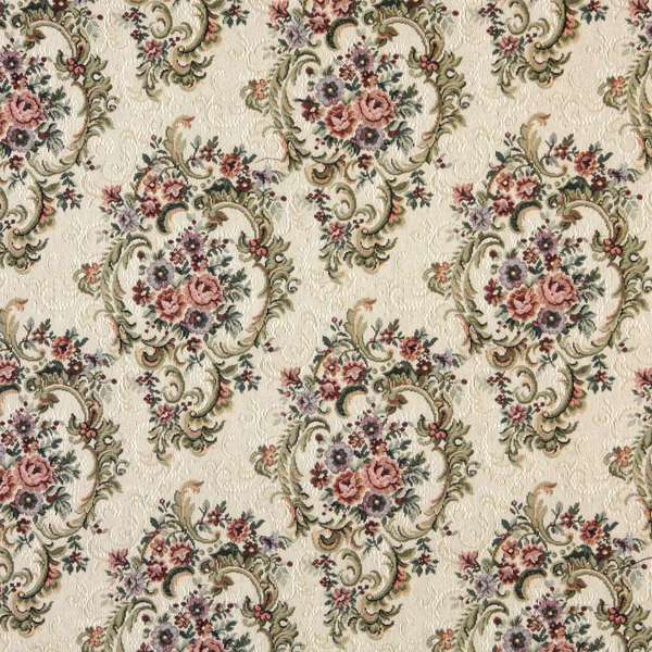 F644 Green Blue And Burgundy Floral Tapestry Upholstery Fabric By The Yard
