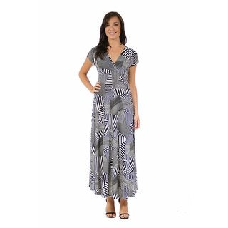 24/7 Comfort Apparel Women's Black and White Abstract Wrap Dress