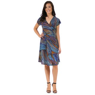 24/7 Comfort Apparel Women's Blue and Gold Striped Empire Dress