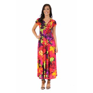 24/7 Comfort Apparel Women's Vibrant Floral Wrap Dress