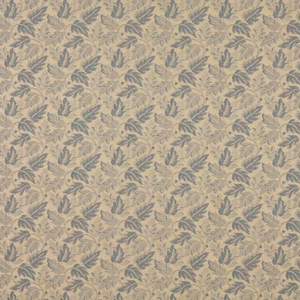 F702 Beige And Blue, Leaf Floral Heavy Duty Crypton Fabric By The Yard