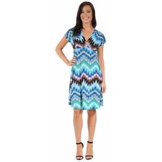 24/7 Comfort Apparel Women's Cool Blue Empire Dress
