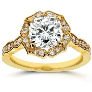 Annello 14k Yellow Gold Cushion-cut Moissanite and 1/4 ct TDW Diamond Antique Floral Engagement Ring (G-H, I1-I2)