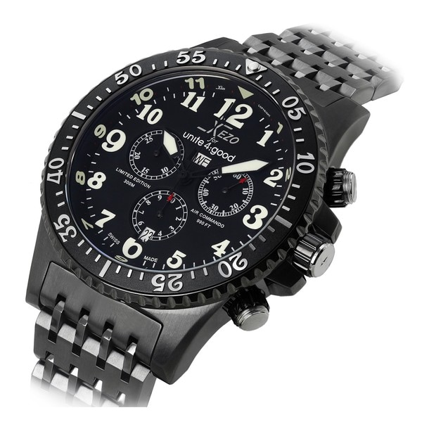Xezo for unite4 good air commando mens swiss made divers gunmetal chronograph watch 17395866 for Xezo watches