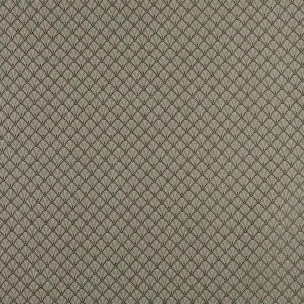 D361 Dark Green and Beige Shell Woven Jacquard Upholstery Fabric (By The Yard)