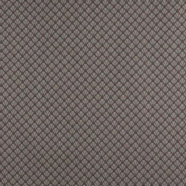D363 Navy Beige and Red Shell Woven Jacquard Upholstery Fabric (By The Yard)