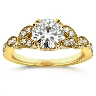 Annello 14k Yellow Gold Round Moissanite and 1/5 ct TDW Diamond Antique Engagement Ring (G-H, I1-I2)