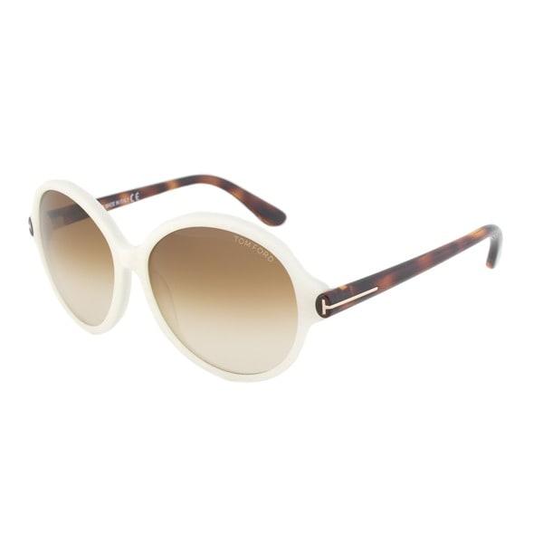 Tom Ford FT0343 20F Milena Round Sunglasses - Ivory White Frame
