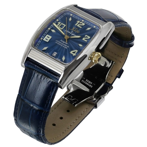 Xezo for Unite4:good Incognito Mens Gold Pl. Limited Edition Automatic Blue Dial Watch