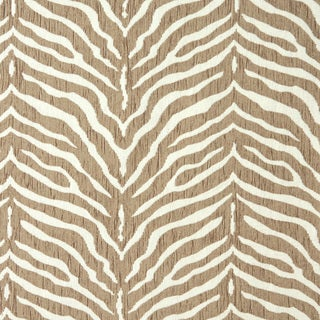 Beige Zebra Pattern Textured Woven Chenille Upholstery Fabric (By The Yard)