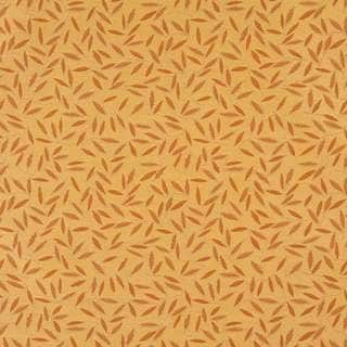 E205 Orange Gold Floral Leaf Residential Contract Upholstery Fabric (By The Yard)