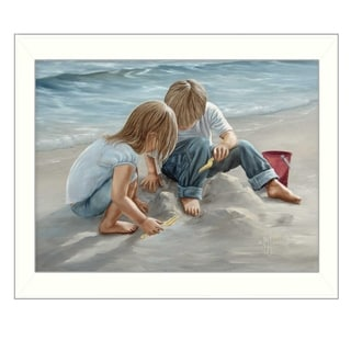 """""""Sand Castle Builders"""" By Georgia Janisse, Printed Wall Art, Ready To Hang Framed Poster, White Frame"""