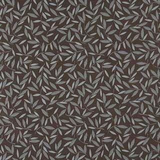 E207 Brown Blue Floral Leaf Residential Contract Upholstery Fabric (By The Yard)