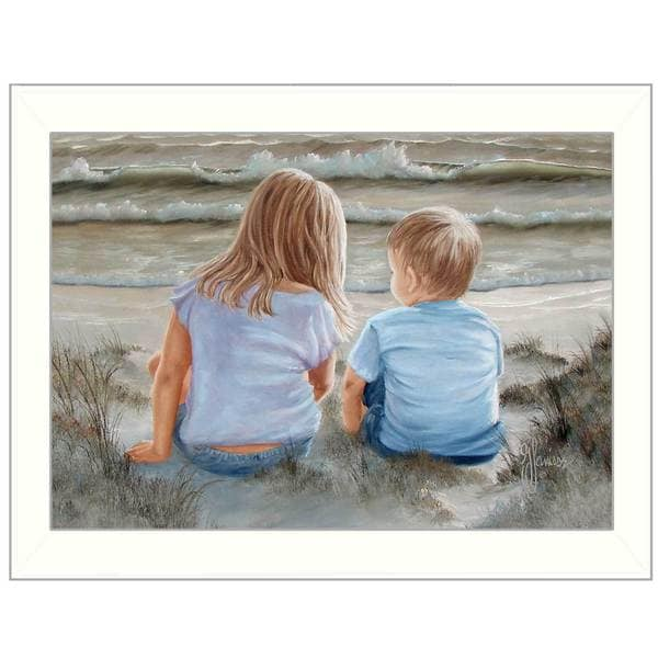 Boy and Girl Sitting in the Dunes' Framed Art