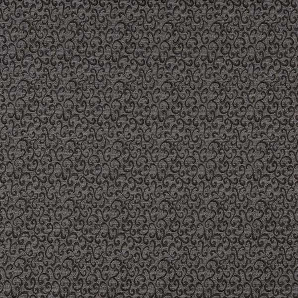 E246 Black Grey Abstract Scrolls Contract Upholstery Fabric (By The Yard)
