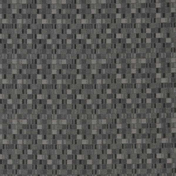 E252 Black Grey Small Scale Geometric Contract Upholstery Fabric (By The Yard)