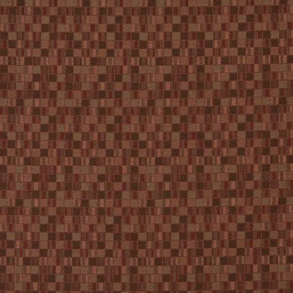 E253 Burgundy Small Scale Geometric Boxes Contract Upholstery Fabric (By The Yard)