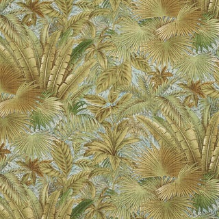 E349 Blue and Green Floral Leaf Indoor and Outdoor Fabric (By The Yard)