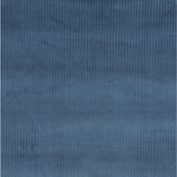 Blue Corduroy Striped Velvet Upholstery Fabric (By The Yard)