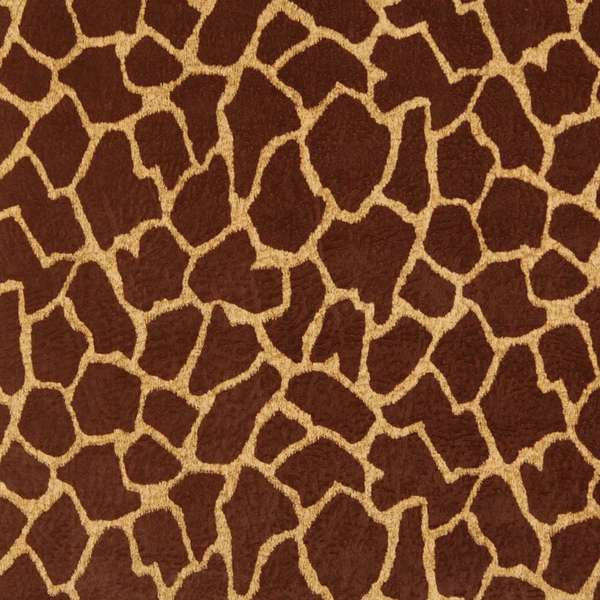 E404 Brown Giraffe Animal Print Microfiber Upholstery Fabric (By The Yard)