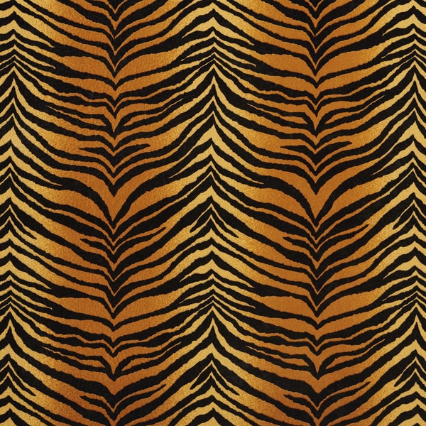 E408 Gold and Black Tiger Animal Print Microfiber Upholstery Fabric (By The Yard)