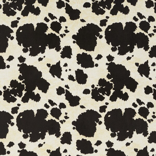 E414 Black and White Cow Animal Print Microfiber Upholstery Fabric (By The Yard)