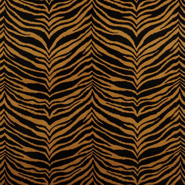 E416 Gold and Black Tiger Animal Print Microfiber Upholstery Fabric (By The Yard)