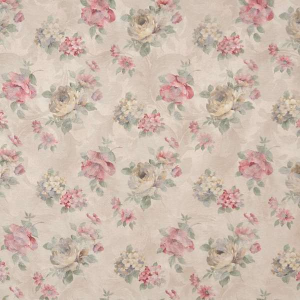 F806 Red Green Beige Pastel Floral Jacquard Woven Upholstery Fabric By The Yard
