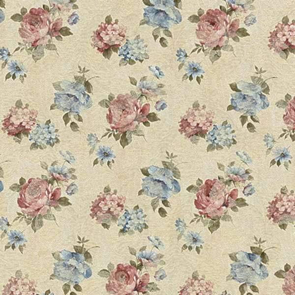 F808 Blue Red Green Cream Pastel Floral Woven Upholstery Fabric By The Yard