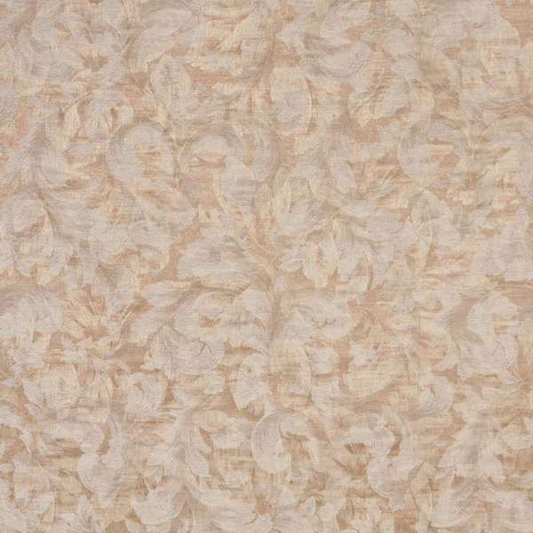 F802 Gold Ivory Pastel Floral Leaf Jacquard Woven Upholstery Fabric By The Yard