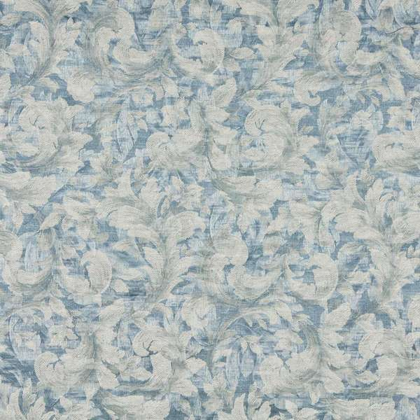 F801 Blue Ivory Pastel Floral Leaf Jacquard Woven Upholstery Fabric By The Yard