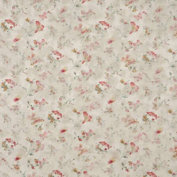 F812 Red Gold Ivory Pastel Butterfly Flower Upholstery Fabric By The Yard