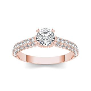 De Couer 14k Rose Gold 1 1/4ct TDW Diamond Hubristic Engagement Ring (H-I, I2)