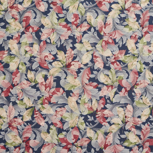 F824 Blue Green Ivory Red Floral Leaf Woven Upholstery Fabric By The Yard
