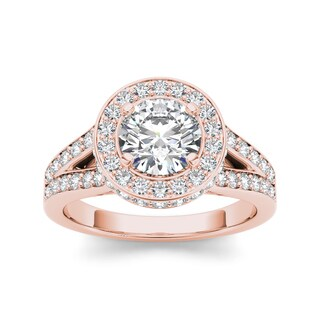 De Couer 14k Rose Gold 1 1/2ct TDW Diamond Split-Shank Halo Engagement Ring (H-I, I2)