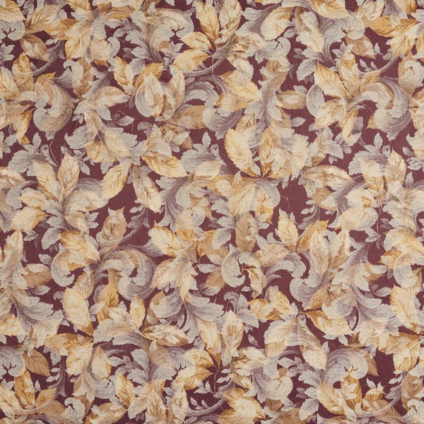 F820 Purple And Gold Floral Leaves Jacquard Woven Upholstery Fabric By The Yard