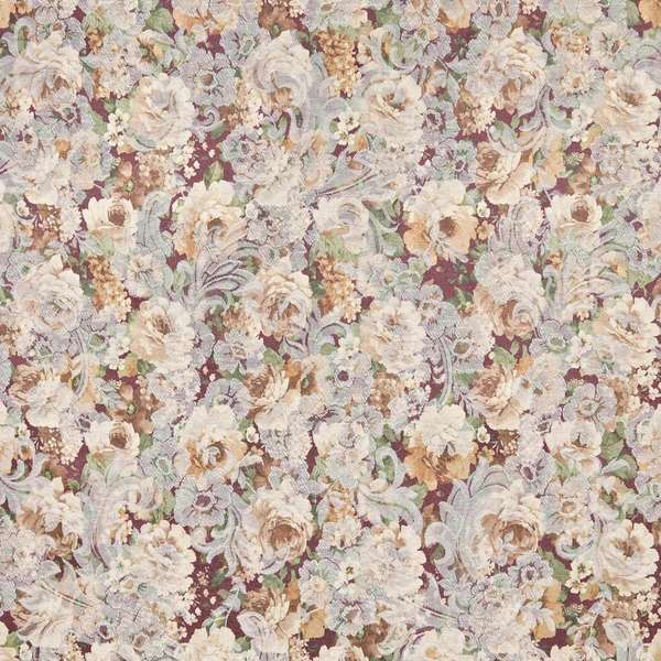F830 Gold Green Burgundy Floral Jacquard Woven Upholstery Fabric By The Yard