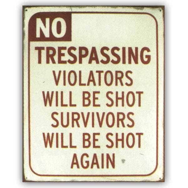 No Trespassing Violator will be Shot, tin sign' Unframed Art