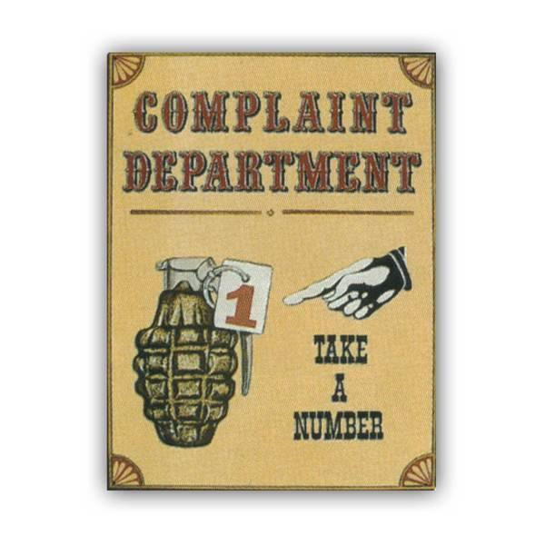 Complaint Department, tin sign.' Unframed Art