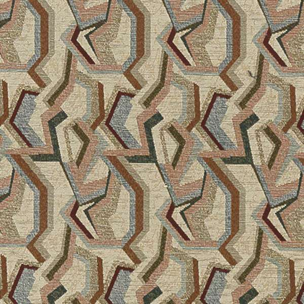 F850 Green Blue And Burgundy Geometric Chenille Upholstery Fabric By The Yard