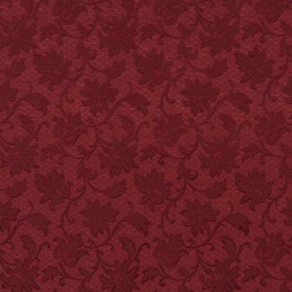 E500 Burgundy Floral Jacquard Woven Upholstery Grade Fabric (By The Yard)