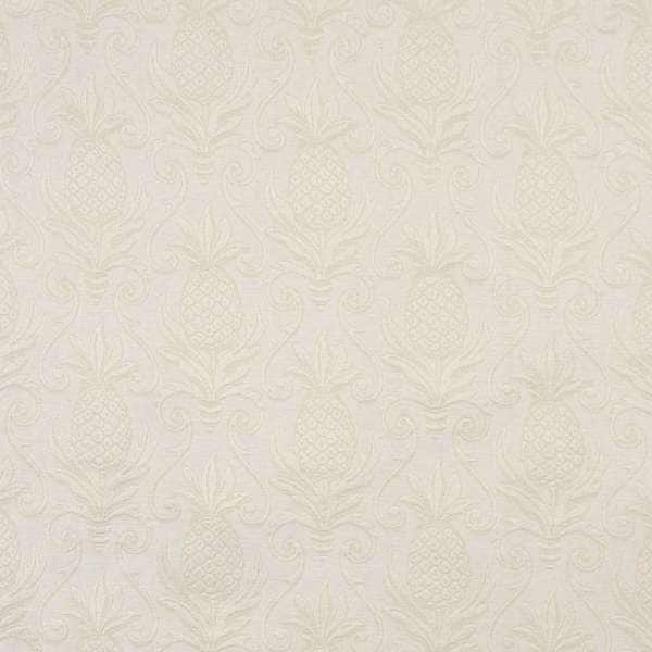 E519 Ivory White Pineapple Jacquard Upholstery Grade Fabric (By The Yard)